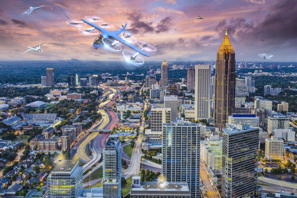 An illustration of downtown Atlanta, Georgia with air taxis in the skies. (NASA)